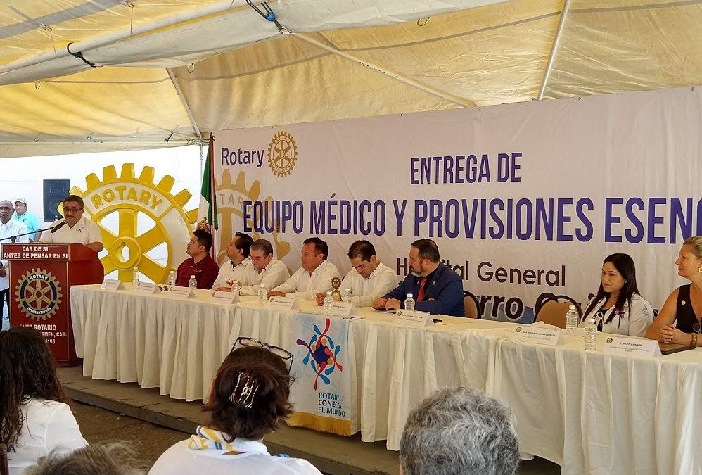 Entrega de contenedor de equipo médico en el municipio de Carmen